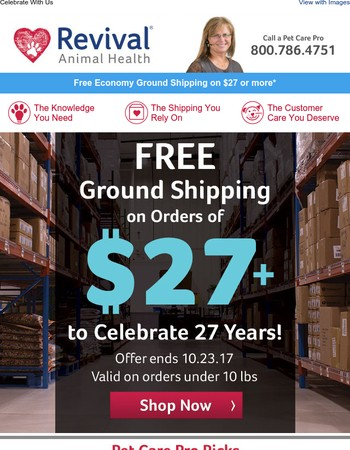 Free Shipping Offer for our 27th Anniversary