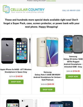 Tuesday Deals: $149 AT&T iPhone 5s 64GB, $249 Verizon Note 5, $154 Unlocked S5 Active, and more...