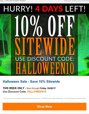 Hurry! Only 4 Days Left of Our Annual Halloween 10% Off Sitewide Sale