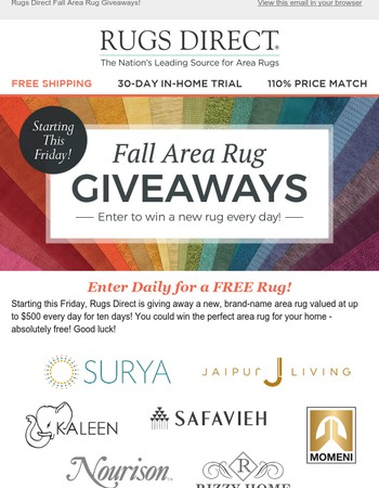 Coming Friday - Win a Rug Worth up to $500