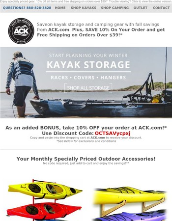 Save On Kayak Storage & Camping Gear with Fall Savings From ACK.com!