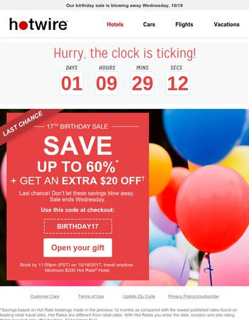 ⏰Mary Only 48 hrs left to save an extra $20 on hotels
