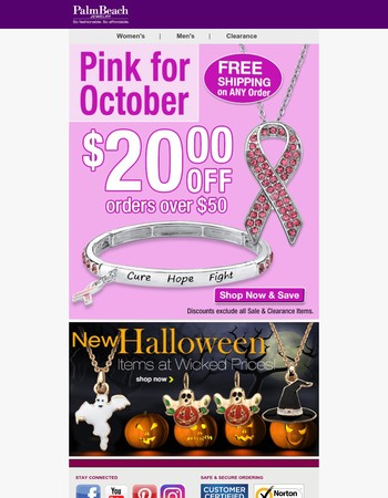 Pink Items for October - $20 OFF!