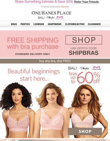 Savings up to 60% on Bali Bras + Ship FREE