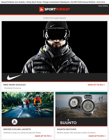 Nike Snow - Worldwide Exclusive | Winter Cycling Jackets | Suunto Watches | Gaerne Shoes | R'adys Clothing | Up to 70% Off!