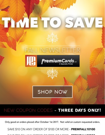 PremiumCards.net - Fall Newsletter - Coupon Codes