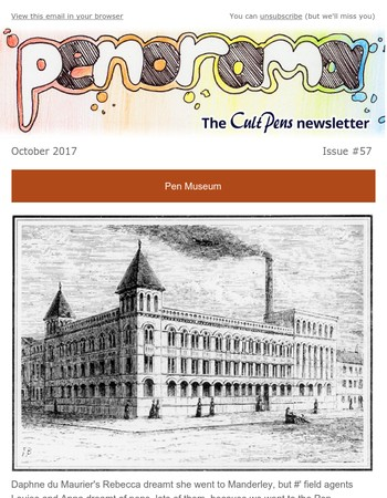 Cult Pens : Penorama October 2017 : the Pen Museum, Storage for Pens, and Win a Bike!