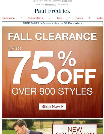 Starting Today: Fall Clearance Up To 75% Off
