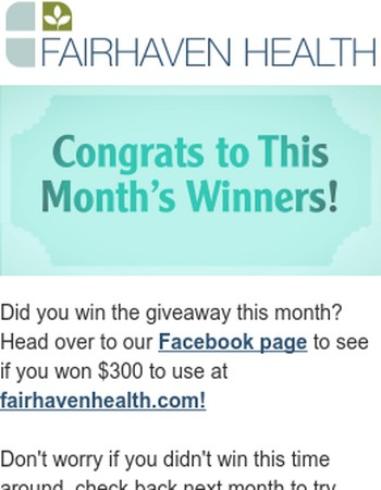 Double check Facebook to see if you won this month's giveaway!