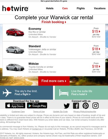 Need a car in Warwick? You'll love today's last-minute prices!
