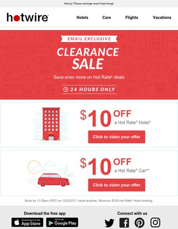 Clearance Sale! Mary, save an extra $10 on hotels and cars