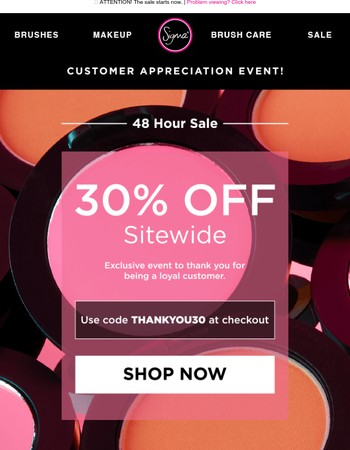 Customer Appreciation Event! 30% Off Sitewide