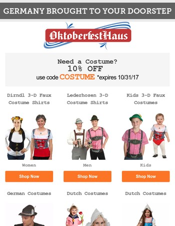 Instant German Costumes Brought to Your Doorstep! 10% Off All Costumes