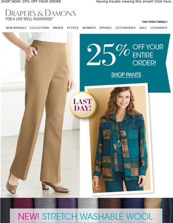 Introducing Stretch Washable Wool Pants + Save 25%