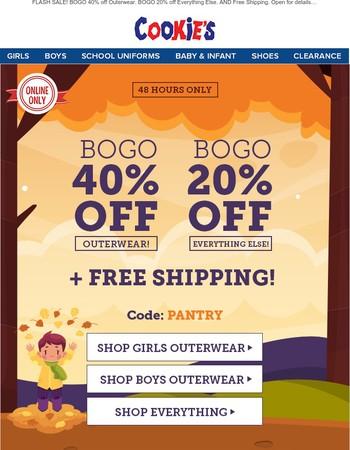 BOGO 40% off Outerwear + MORE!