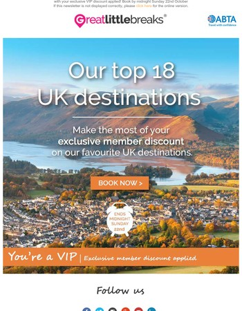 Exclusive offer: Our top 18 UK destinations