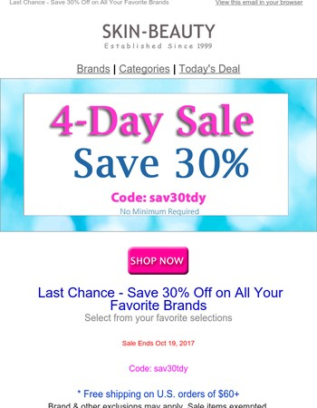 Just for You - Save 30% on 4-Days Sale