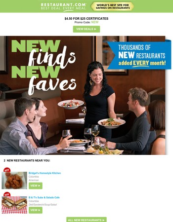 Find new faves – new restaurants added every month!