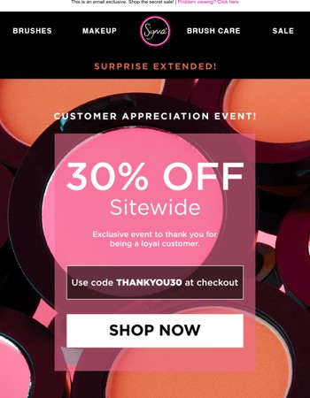 SURPRISE EXTENDED! 30% Off Sitewide