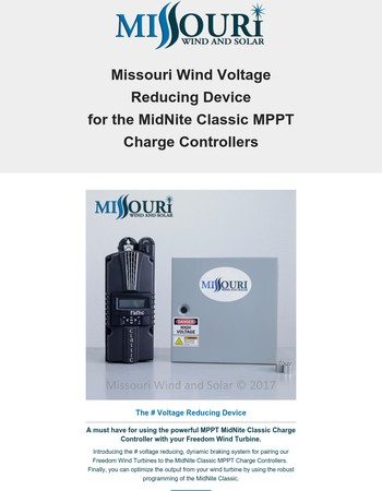 NEW Missouri Wind Voltage Reducer