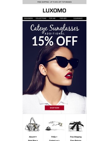 Treat Yourself With An Additional 15% Off A Fierce Pair Of Cat Eye Sunglasses!
