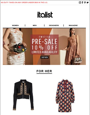10% OFF Fall 2017 Dior, Gucci, Versace and More Exclusively on Italist