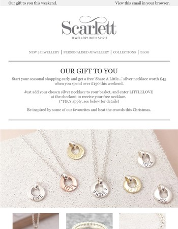 Our gift to you - complimentary Share A Little Love necklace for early bird shoppers.