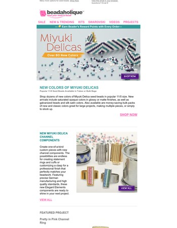 Over 80 New Miyuki Delica Seed Bead Colors & New Channel Rings, Clasps & More