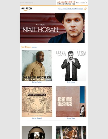 Digital Music Newsletter for Amazon.com: Niall Horan, Darius Rucker, Chris Young, and more
