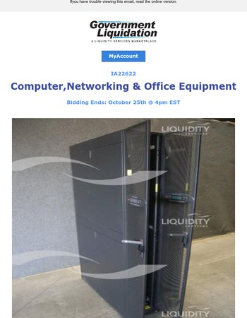 Bid on Laptops, Copiers, Routers, Switches & More