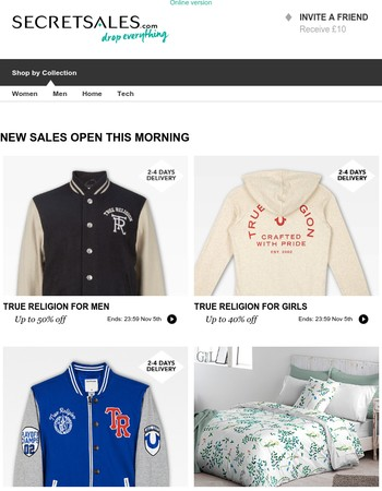 True Religion For Men, True Religion For Girls, True Religion For Boys, El Caballo Bed Linen, The Modern Classic: Suitcases, Nails Inc, Make-Up Brush Cleaners, Smeg Union Jack Fridges, Vax, Miu Miu