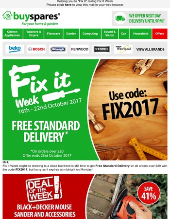 Free Delivery Ends Monday