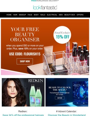 Your Free lookfantastic Beauty Organiser | Plus an exclusive 15% off