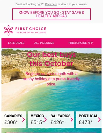 This month's best offers from £261