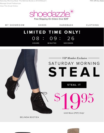 $19.95 for This Wedge Bootie – UNTIL 12PM ONLY!