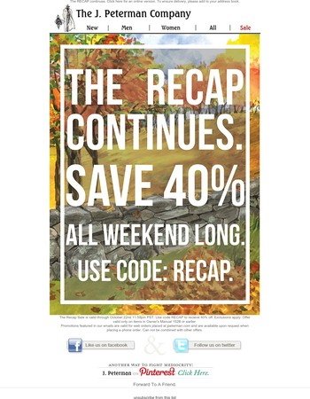 Save 40% all weekend long.