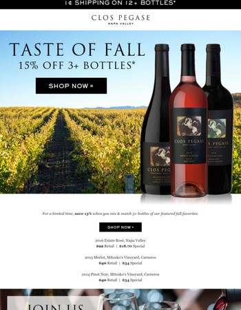 Stock up for fall with 15% off 3+ bottles
