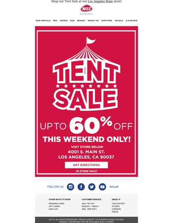 Save Up To 60% Off During Our Tent Sale This Weekend!