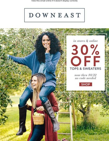 Major Fall Feels: 30% OFF Sweaters and Tops!