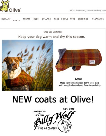 NEW at Olive: Billy Wolf Dog Coats