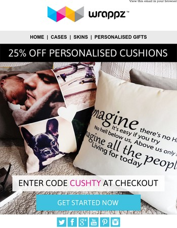 25% OFF Personalised Cushion for a limited time