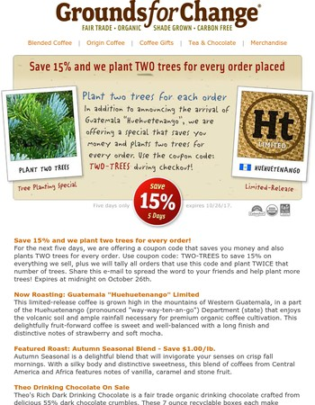 Save 15% and Plant Two Trees + Guatemala