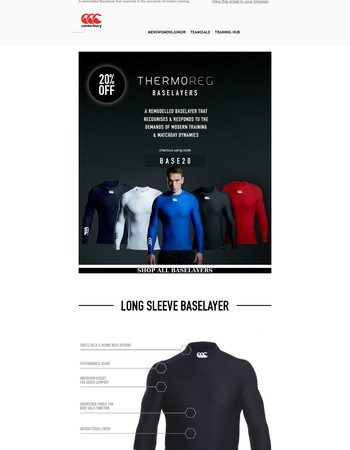Enjoy 20% off our Iconic ThermoReg Baselayers