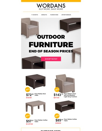 Outdoor Furniture End of Season prices