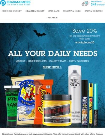 Save 20% on our Halloween Inventory SALE