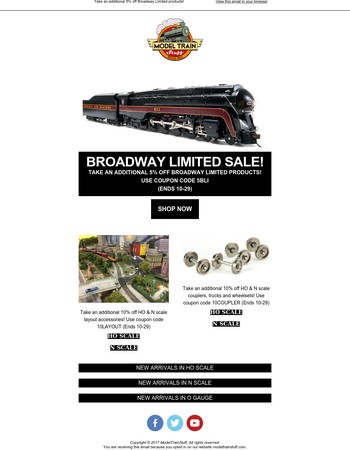 , take an additional 5% off Broadway Limited products!