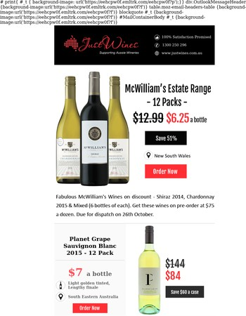 Pre-order & save 51% - McWilliam's Shiraz, Chardonnay and Mixed at $6.25 per bottle