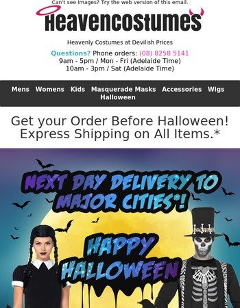 Frighteningly Fast Delivery for Halloween! Next Day Delivery Available to Capital Cities!