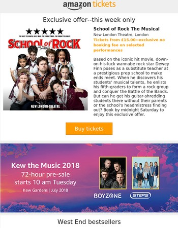 School of Rock exclusive--no booking fee, plus Kew the Music--Steps and Boyzone announced