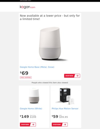PRICE DROP: Google Home Base (Metal, Snow)